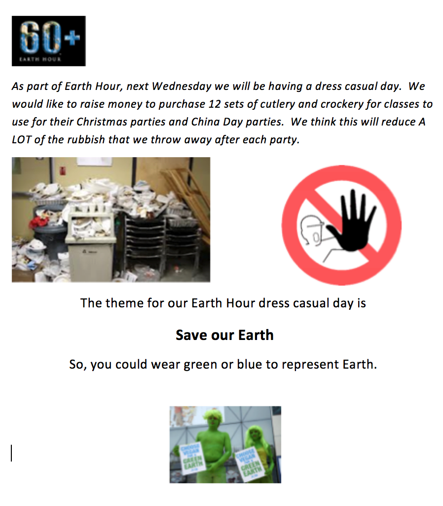 Earth Hour page 1